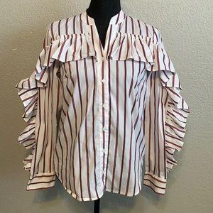 Anthropologie Belle Vere stripe long sleeve top S
